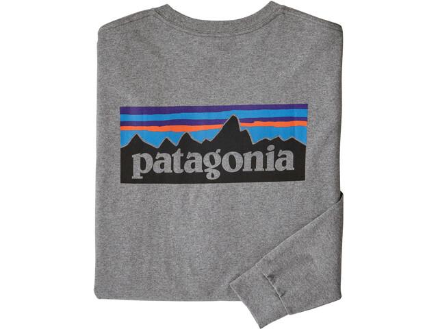 Patagonia P-6 Logo Camiseta Responsable Manga Larga Hombre, gravel heather